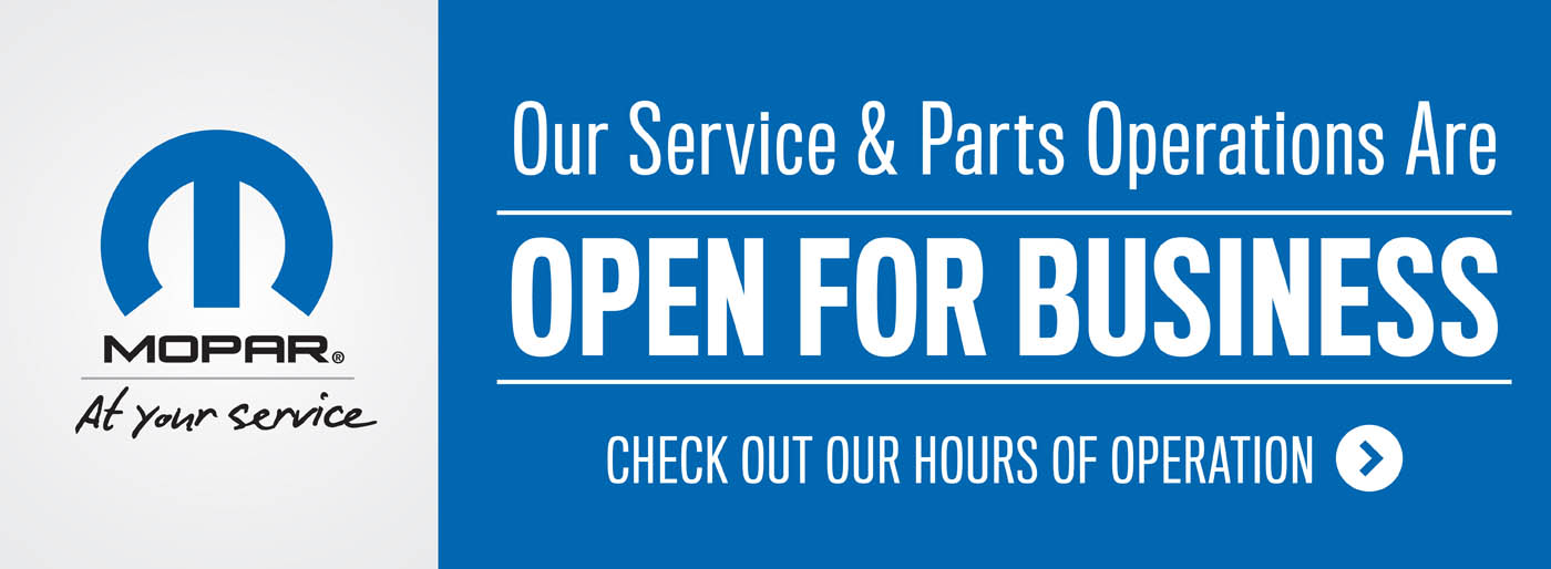 Our Service and Part Operaton are open for business